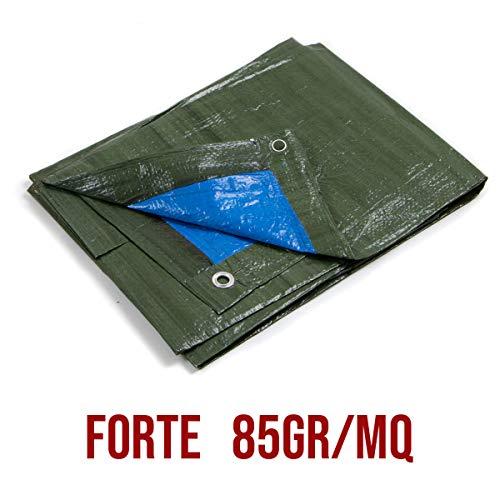 STI Telo OCCHIELLATO 85 gr Verde Blu Impermeabile COPRITUTTO Multiuso Misura 5x5mt