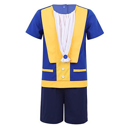 Agoky Disfraz de Príncipe Encantado para Niños Cosplay rol Traje de Gastón Bella y Bestia Camiseta Manga Corta Shorts Disfraces Halloween Fiesta Azul 4 Años