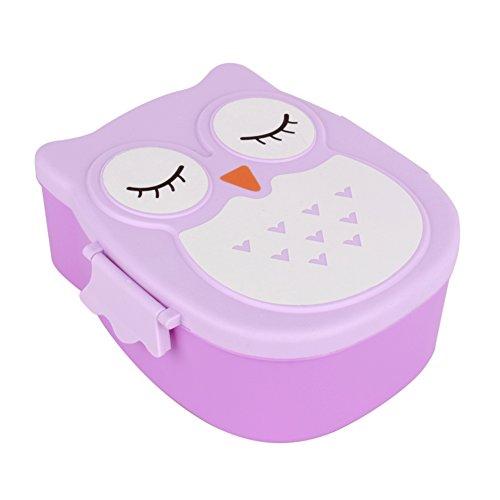 Fiambrera para niños, fiambrera, fiambrera con caja extra para aperitivos infantiles, búho, pícnic, 1050 ml, color rojo púrpura