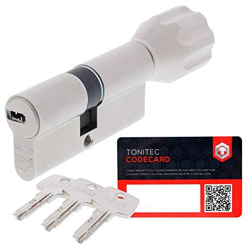 ABUS Schließzylinder Schließanlage als Knaufzylinder Zylinderschloss mit Knauf gleichschließend EC550 mit 3 Schlüssel inkl. ToniTec CodeCard Größe 30 30K mm Schließung 1