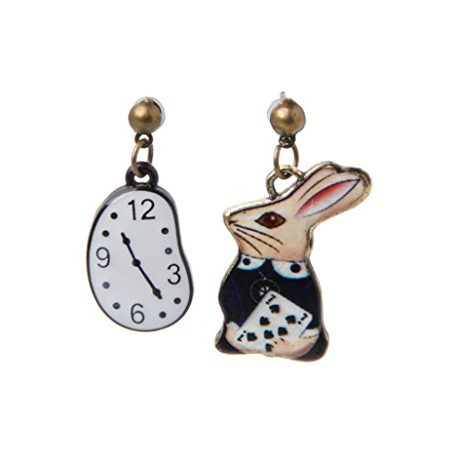 XIAN Rabbit Clock Poker Party Cartoon Icon Earrings Stud Earrings