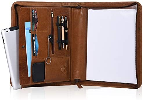 Habitage Genuine Leather Portfolio for Men Women Durable Handcrafted Padfolio Zippered Folder product image