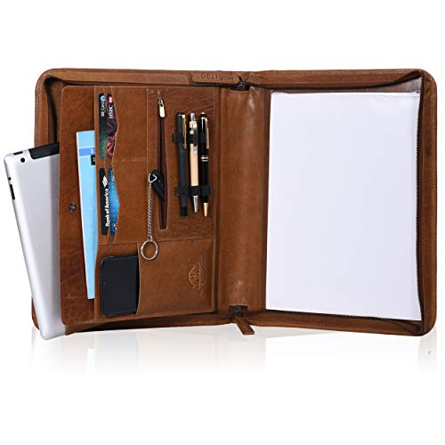 Habitage Genuine Leather Portfolio for Men & Women | Durable Handcrafted Padfolio | Zippered Folder with Laptop Sleeve, Pockets for Mobile & iPad | Perfect Gift for Him and Her, Ready to Ship