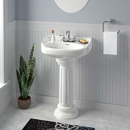 Magnus Home Products Dawson 100 Vitreous China Pedestal Bathroom Sink, 8
