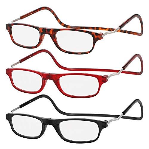 AUXSOUL 3 Piezas de Magnéticas Gafas de Lectura + 2,00 Presbicia Montura Regulable Colgar del Cuello con Cierre Magnético para Hombre y Mujer - Negro, Rojo, Estampado de Leopardo