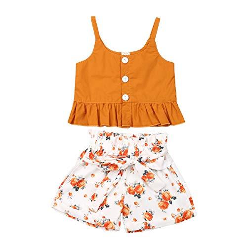 Carolilly - Conjunto de ropa para niñas, 2 unidades, estampado floral