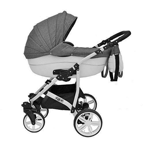 Cleo Kombi Kinderwagen 3 in 1 Komplettset - grau/weiß mit Kunstlederelementen