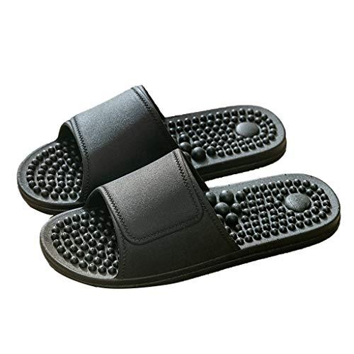 Massage Hausschuhe, Unisex Erwachsene Fußmassage-Hausschuhe, Akupressur Fußmassage Hausschuhe Sandalen Schuhe, Dusch-& Badeschuhe Freien Bad Sandale Pool Schuhe ( Color : Black , Size : EUR 43-44 )