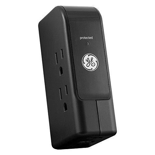 GE 13456 Travel Surge, 3 Outlet, 350J, 2 USB Ports (2.4A), Foldable Prongs