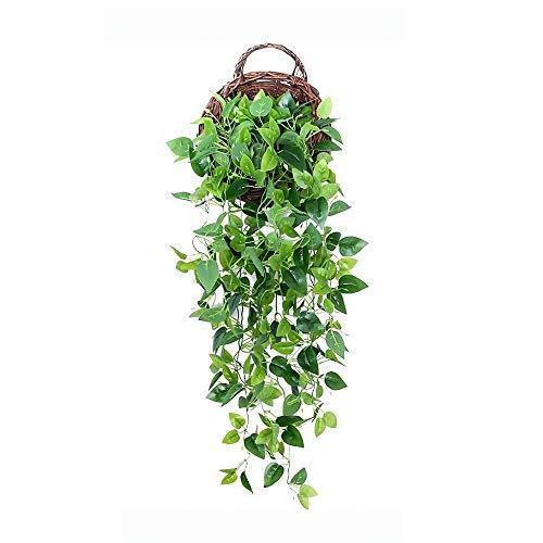Finoki Juego de 2 plantas colgantes de 100 cm, plástico, guirnalda de hiedra verde, plantas para decoración