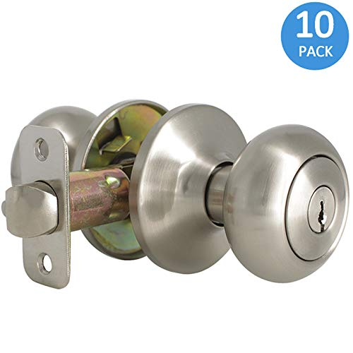 10 Pack Door Locksets with Same Key Satin Nickel Exterior Door Knobs Keyed Alike Entry Contractor Pack Door Knobs