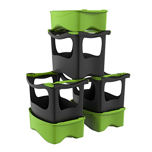 U-greeny Sparset, 3er Set aus Pflanzbox und Multibox in Anthrazit, Balkonhochbeet zum Stapeln, integriertes Wasserablaufsystem, wetterfest, 96362