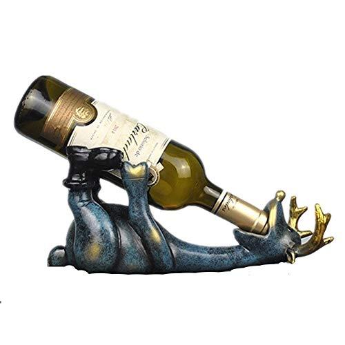 Botella de vino bastidor Wine Rack - 14 Cm resina Elk vino titular de la botella Figurines creativo de mentira ciervos Decoración Animal estante del vino decoraciones del arte Exquisita decoración prá