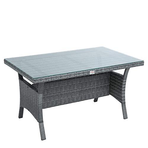 ESTEXO Polyrattan Lounge Set in luxuriöser Optik bestehend aus 1 Couch, 3 Hockern und 1 Tisch, inklusive Sitzpolster, grau - 9