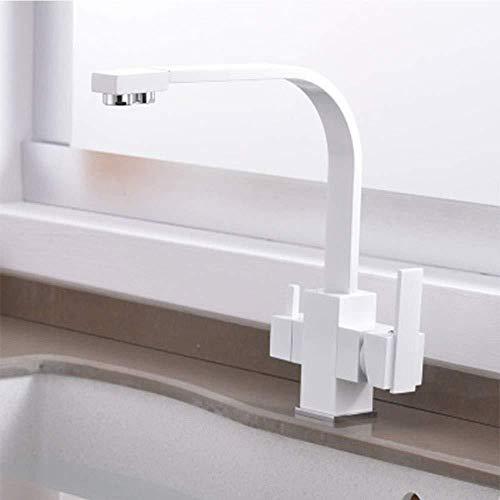 Taps Keuken Witte Verf Warm en Koud Water Kraan Stoel Diameter 35 Mm Inlaat en Outlet Pijp Diameter 1/2 Koper Materiaal U Verdient te Hebben