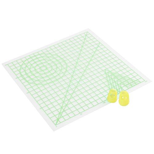 Cizen Estera para 3D Dibujo, Plantilla Básica y 2 Tapas de Silicona para Dedos, Adecuado para Impresión en 3D Dibujo y Diseño de la Pluma