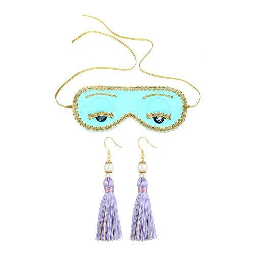 Preisvergleich Produktbild UtopiatSeide Schlafaugenmaske & Quaste Ohrstöpsel Set Frau inspiriert von Audrey Hepburn Stil