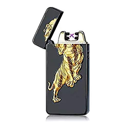 SHUNING USB-aansteker, elektronische winddichte vlamloze dubbele boogaansteker, USB oplaadbare sigarettenaansteker (Black tiger)