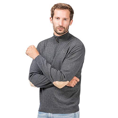 ALLBOW, Reißverschluss Herren Pullover mit Stehkragen, Grauer Ellenbogen Patches Pulli, L