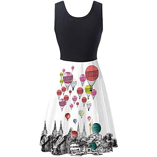Vestido de verano para mujer, sin mangas, cuello redondo, largo hasta la rodilla, vestido de fiesta, cintura alta, línea A, vestido de fiesta, elegante, vestido de fiesta, negro, verde, rosa gris S