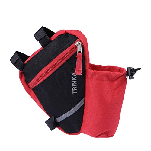 GARNECK bicicleta cuadro triángulo bolso marco bicicleta bolsa bolsa bolsa Mountain Bike bandolera bolsa de sillín riñonera (negro), rojo, M