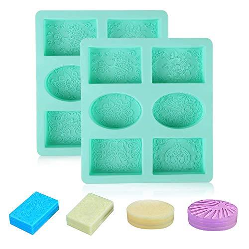 LATTCURE Molde de silicona para hacer jabón, hecho a mano, 6 cavidades, forma ovalada, rectangular, para hacer manualidades, pasteles, chocolate, color verde