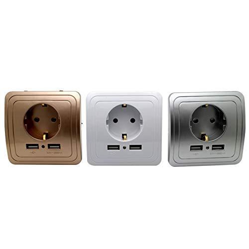 ASDFGT-778 3 Colores Inteligentes hogar Mejor Dual USB Puerto 2000 mA Adaptador de Cargador de Pared 16A Panel de Salida de Enchufe eléctrico estándar de la UE (Color : Champagne)