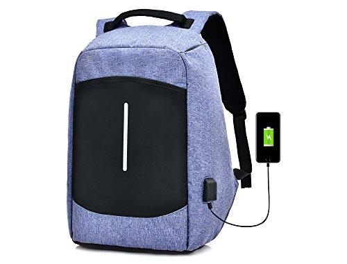 Ys-s Personalización de la Tienda Bolsa de Deporte multifunción de Lienzo de los Hombres Daily Anti Robo 17'Mochila con Puerto de Carga USB (Color : Purple)
