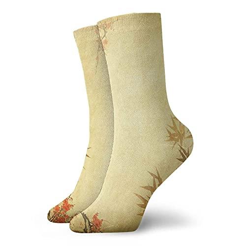 Calcetines de compresión para mujer y hombre, tallos de bambú y flor floreciente antiguo fondo de grunge oriental calcetines ideales para circulación, médico, correr, atletismo, enfermera, viajes
