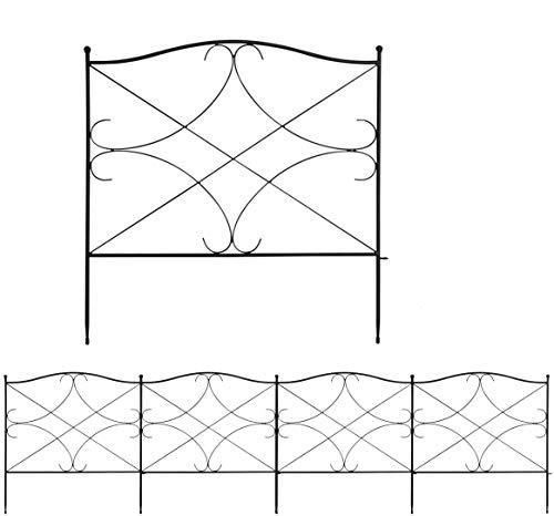COSTWAY Decorative Garden Fence, Coated Rustproof Metal Fencing Panels,...