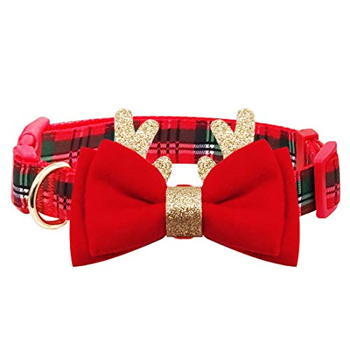 azuza Christmas Dog Collar, Unique Design Plaid Dog Collar with Bowtie and Cute Glitter Reindeer Ear, Soft & Comfy Xmas Dog Collars, Best Gifts for Small Medium Large Dogs