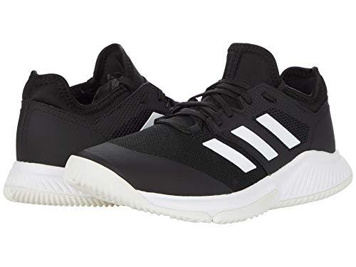 adidas Women's Court Team Bounce Volleyball Shoe, Black/White/Silver Metallic, 9.5