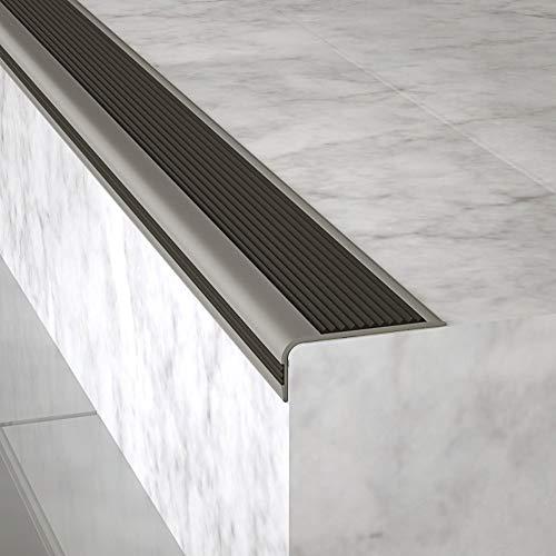 Perfil bordes de escaleras Peldaño autoadhesivo antideslizante Perfil de borde antideslizante Escalera de esquina Nariz antideslizante escalera Para azulejos,madera maciza,escaleras de mármol.(1m)