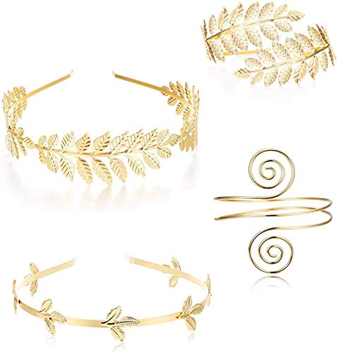 Adramata 4PCS Griechische Göttin Stirnband Armmanschette Brautschmuck Set Römischer Lorbeerblattzweig Kronenarmreif Oberarmband Armband verstellbar