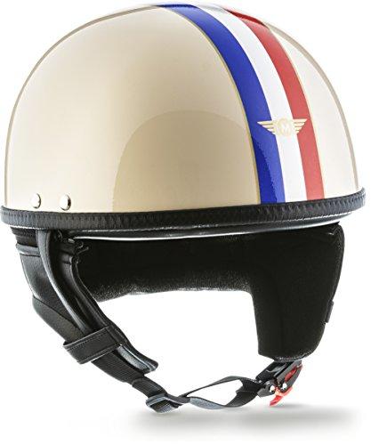 Mangen Jethelm Motorradhelm Motoradhelme Mopedhelm Vespa Helm DOT zertifiziert Blau + Wei/ß, S