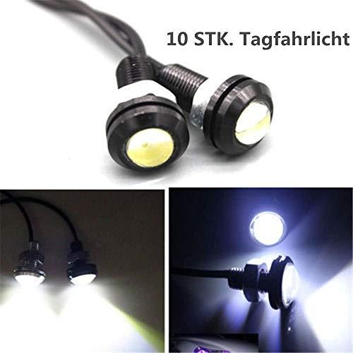 Eagle Eye Light, 10 STÜCKE 10 Watt 18 mm Weiß Eagle Eye DRL Nebel-LED-Leuchten Tagfahrlicht Motorrad Auto Kopf Heck Reserveparklicht