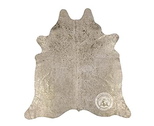 Alfombra de Piel de Vaca Devoré Metálico Dorado 210 x 180 cm Pieles del Sol