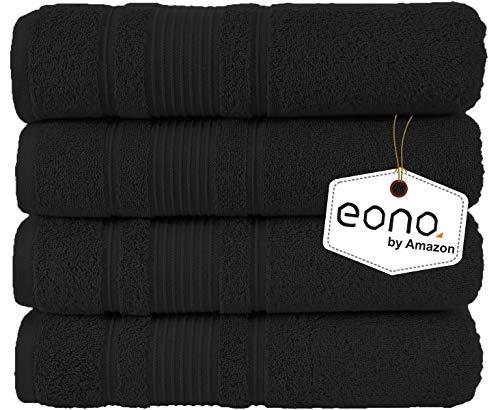 Eono by Amazon, Juego de 4 Piezas de Toallas de baño (28 x 55 Pulgadas)(Negro Oscuro)
