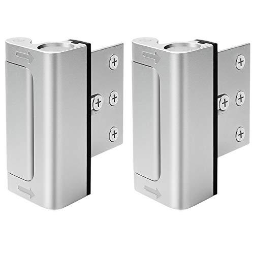 Home Security Door Lock, Upgrade Easy Open Childproof Door Reinforcement Lock with 3 Stop Withstand 800 lbs for Inward Swinging Door, Add Extra Lock to Defend Your Home Safe (Silver)