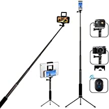 Bluetooth Selfie Stick with Tripod, Remote 59Inch MFW Extendable Monopod with Tripod Stand for iPhone 12/12PRO /11/11PRO/X/XS max/XR/XS/8/7/6/Plus,Tablet,Samsung S7/S8/S9,Android,GoPro Cameras
