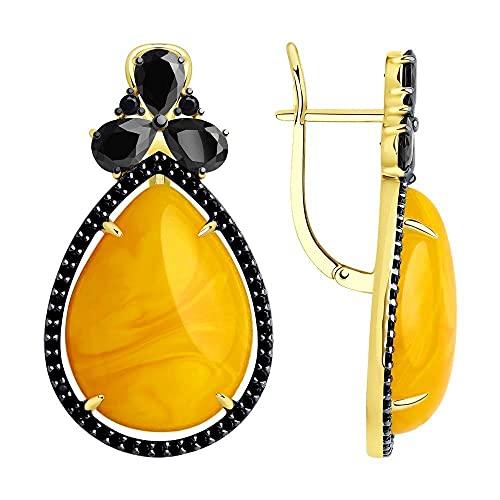 Mirkada - Pendientes de plata para mujer, chapados en oro con ámbar y circonitas, color amarillo