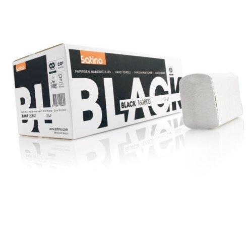 Satino Black Papierhandtücher, 25 x 23 cm, Zick-Zack-Falzung, 3200 Blatt