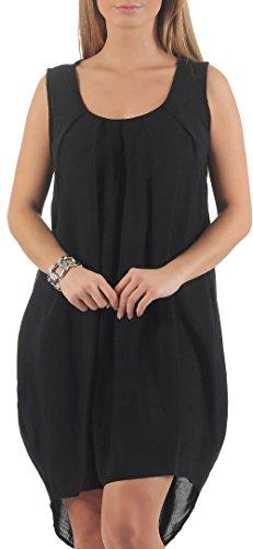 Malito Damen Sommerkleid Knielang | Elegantes Kleid für den Strand | klassisches Freizeitkleid | Partykleid 1120 (schwarz)