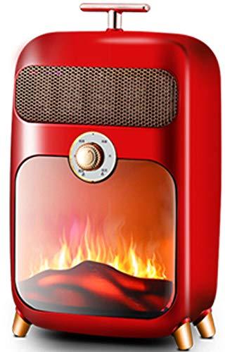 NFJ Calefactor Eléctrico Chimney Termoventilador, 900W, Estufa Cerámica Efecto Chimenea Portátil Bajo Consumo, Estufa Aire Caliente, Sensor Sobrecalentamiento Y Antivuelco,Red