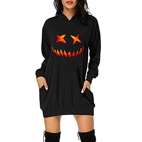 Women'S Fashion Hoodies & Sweatshirts,Casual Oversized Round Neck Long Pullover with Pocket Halloween Graphic Tops