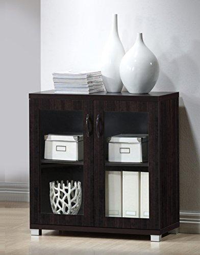 Baxton Studio Wholesale Interiors Zentra Sideboard Storage Cabinet with Glass Doors, Dark Brown