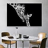 WYHCJJ Mural decoración pintura Animales negros Fotos Tiger Lion Mokey Leopard Personalizar carteles e impresiones Sala Decoración de pared Pintura sobre lienzo Decoración del hogar 60x80cm