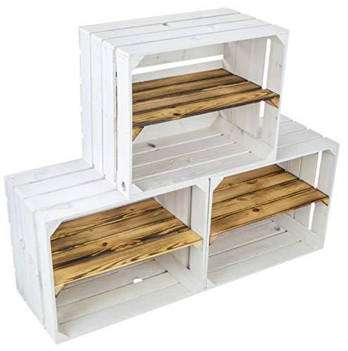 3er set Neue weiße Obstkiste Johanna / Schuhregal Ablageregal Beistelltisch Schuhbox Weinkiste Apfelkiste Holzkiste Regalkiste Ablagekiste (3er set weiß mit geflammter Einlage