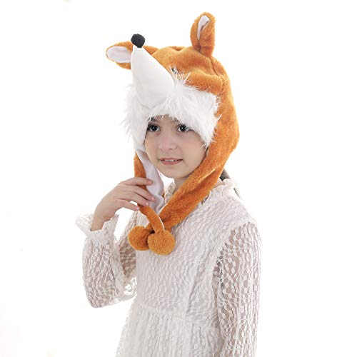 Calvertt Kids Animal Hat - Plush Kids Hats for Boys and Girls - Soft Hat with Ear Flap- Kid Animal Costume Hat - Comfortable and Cute Winter Hats (Fox)