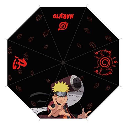 Anime Gedruckt Sonnigen Regenschirm Faltschirm Studentin Niedlichen Neuen Regenschirm 93cm Durchmesser unter dem Regenschirm Naruto schwarz